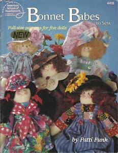 Doll Pattern Booklet-Bonnet Babes To Sew-Full Size Pattern for Five Dolls