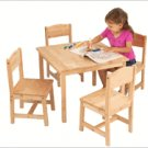KidKraft Natural Birch Farmhouse Table &4 Chair Set KK21421