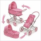 Badger Basket Pink w/White Polka Dots 3-in-1 Pram-Carrier-Stroller#00563