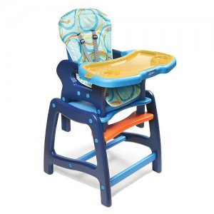 Badger Basket Envee High Chair w/ Playtable Conversion #939 Blue/Multi