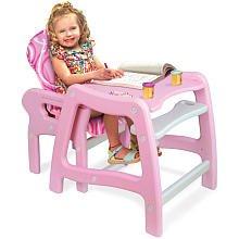 Badger Basket Envee Baby High Chair w/ Playtable Conversion Pink/Whi te# 938