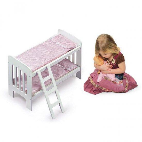 Badger Basket White Doll Bunk Beds w/ Ladder Pink Gingham Bedding #01855
