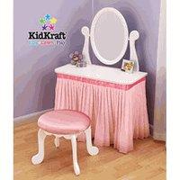 KidKraft  KK13017  My Sweet Vanity  & Stool w/Mirror Pink Skirt & Cushion