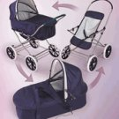 Badger  Basket Navy/White 3 in 1 Doll Pram/Carrier/Stroller 09922