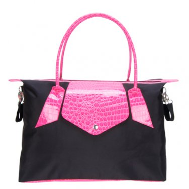 Trend Lab Baby Diaper Bag Black and Magenta Pink Tote #104319 Multi
