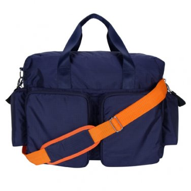 Trend Lab Baby Diaper Bag Navy Blue and Orange Deluxe  Duffle Bag #104327 Multi