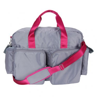 Trend Lab Baby Gray and Magenta Pink Deluxe Diaper Bag #104328 Multi