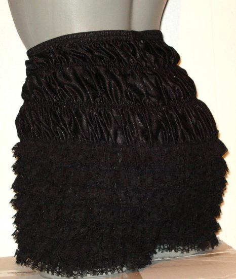 BLACK SISSY PANTIES FRILLY BLOOMERS PETTIPANTS w-40 IN