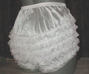 WHITE ADULT SISSY RUFFLE RHUMBA PANTIES FRILLY waist-40