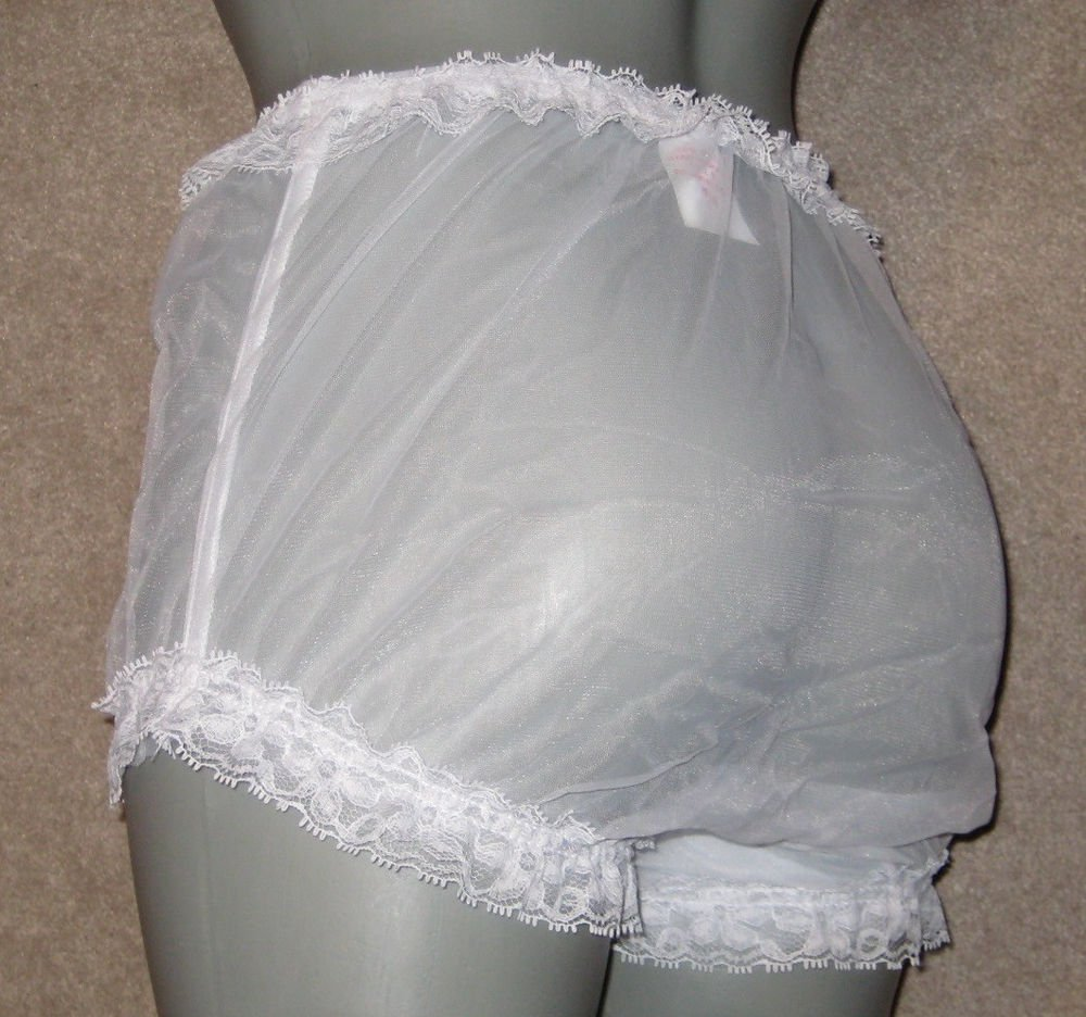 W VINTAGE STYLE CHIFFON SHEER WHITE TENNIS PANTIES  M-L-XL