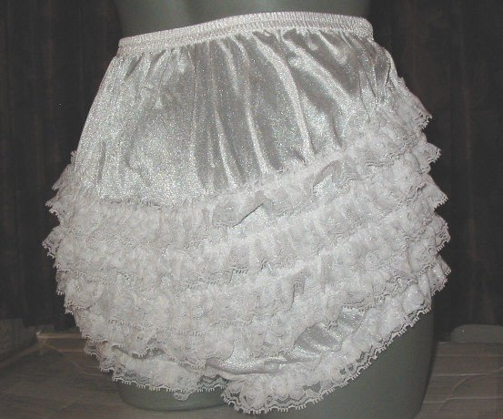 ruffle all nylon white sissy lacy rhumba tennis panties   - large xlarge