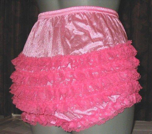 all nylon hot pink ruffle sissy lacy rhumba tennis panties  med -large-xlarge