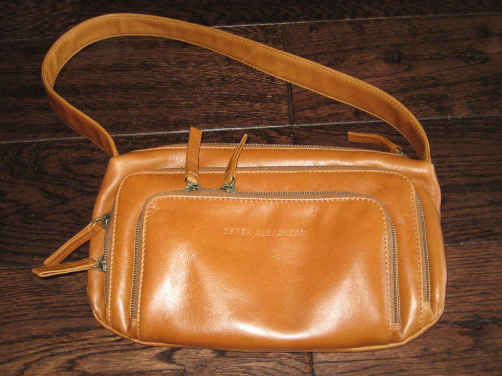 Derek Alexander Top Zipper  Cylinder Purse Leather Hand Purse