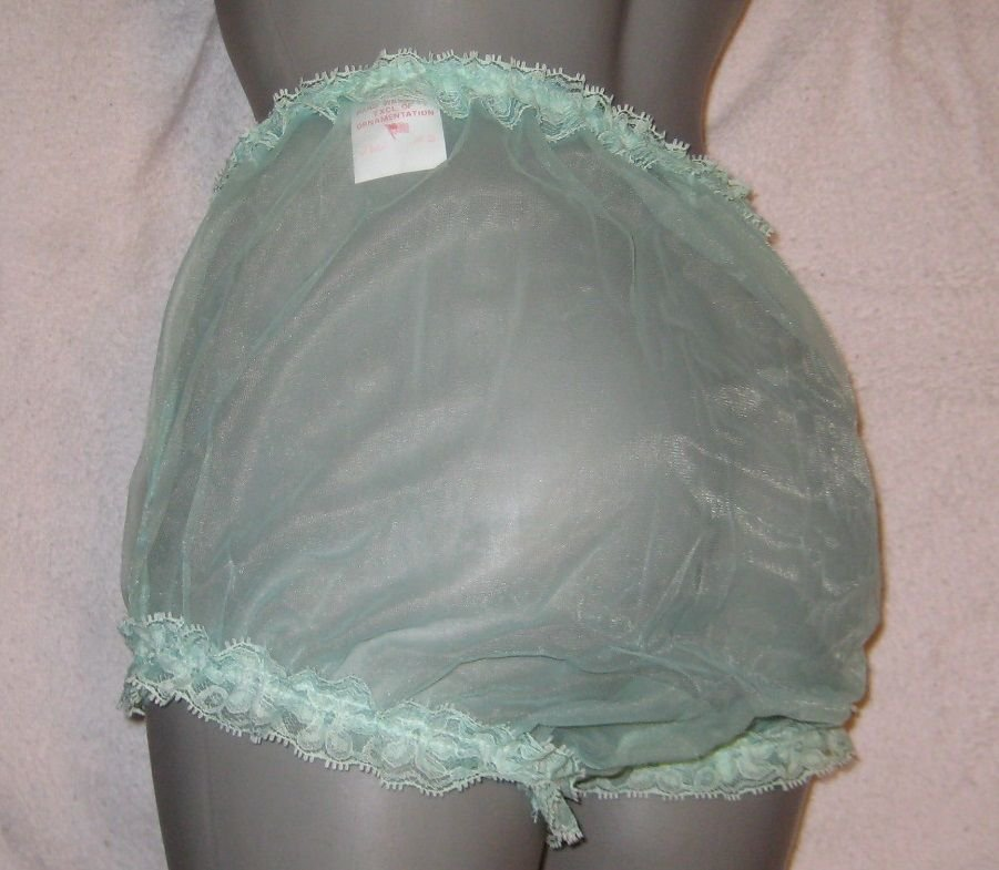 CD VINTAGE  STYLE SHEER GREEN CHIFFON RUFFLE PANTIES M-L-XL