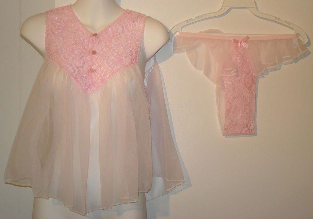 SEXY   Nancy King Baby Doll night gown  all nylon  size  MEDIUM  pink  nwt