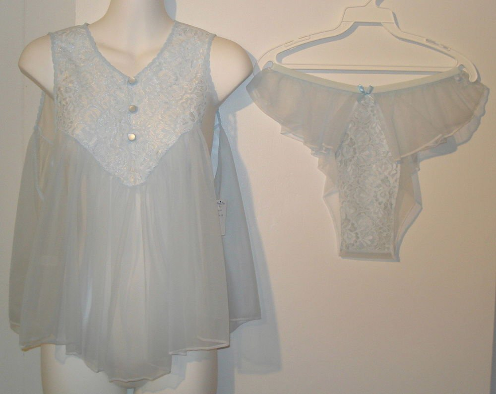 SEXY   Nancy King Baby Doll night gown  all nylon  size  medium blue  nwt