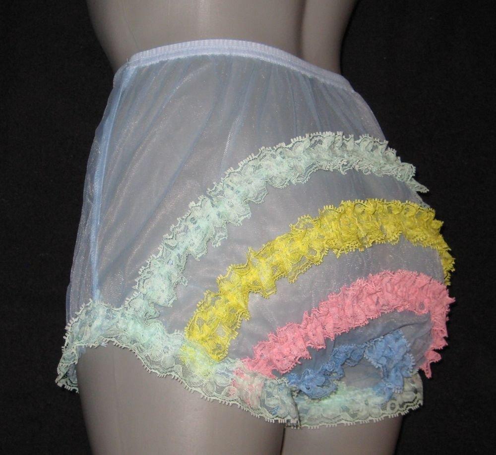 CD ULTRA SHEER GIRLY VINTAGE STYLE  BLUE  PANTIES  PANTIES M-L-XL