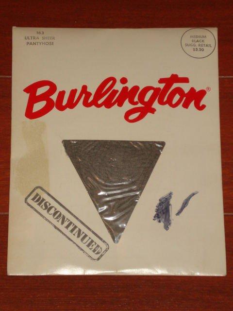 VINTAGE BURLINGTON PANTYHOSE  MEDIUM - BLACK  discontinued