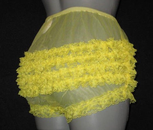 SHEER RUFFLE  FRILLY LACEY YELLOW SISSY RHUMBA  PANTIES M-L-XL
