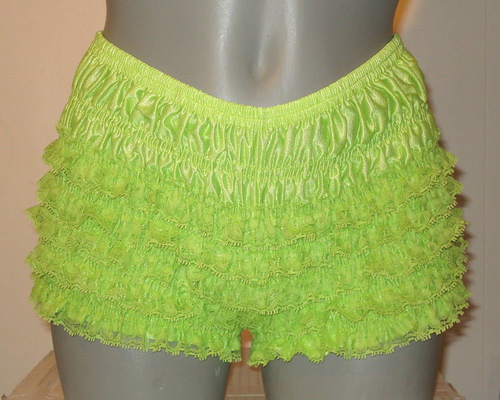 GREEEN LOW RISE SISSY FRILLY RUFFLE NYLON  BIKINI PANTIES  LARGE W-38  IN