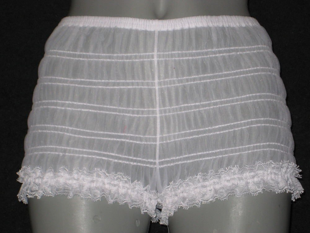 SHEER WHITE LOW RISE SISSY CHIFFON NYLON  BIKINI PANTIES large