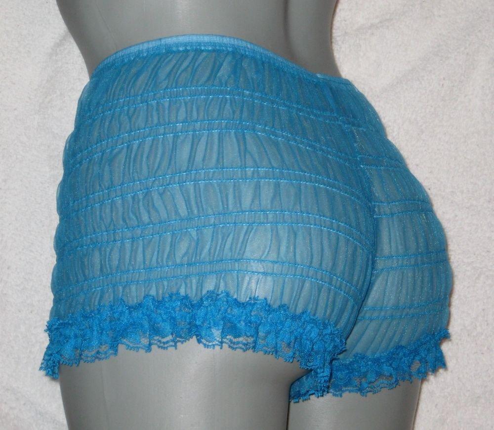 SHEER PEACOCK BLUE LOW RISE SISSY CHIFFON NYLON  BIKINI PANTIES large