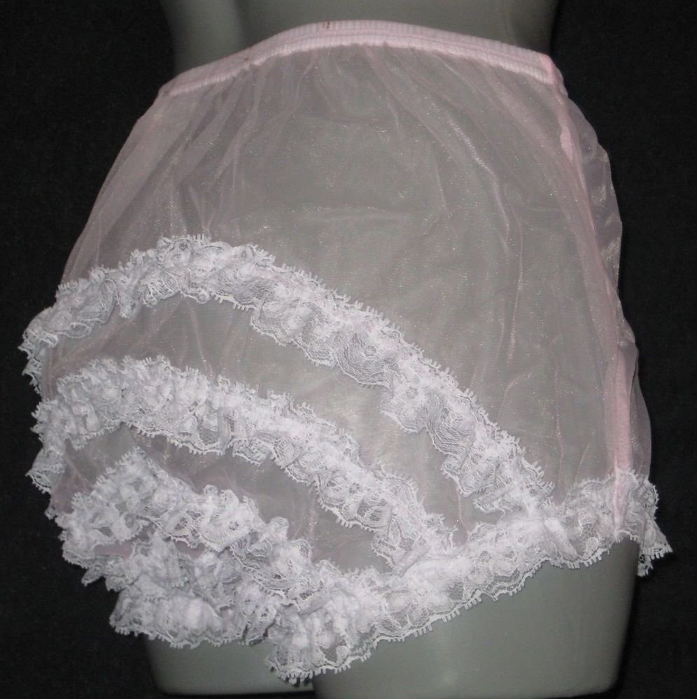 RETRO GIRLY FRILLY  NYLON SISSY RUFFLE  PANTIES  XXL  W-46  SHEER PINK