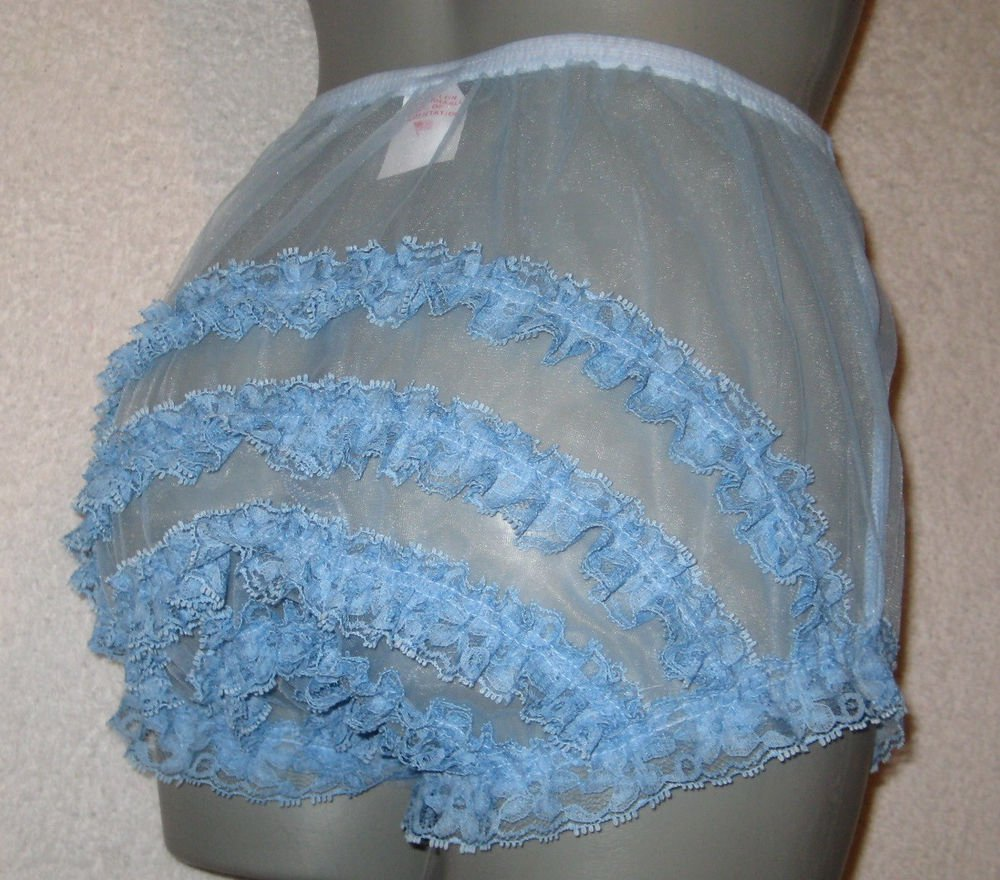 bVINTAGE  STYLE SHEER  BLUE  CAN CAN NYLON RUFFLE PANTIES M-L-XL
