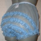 SHEER RUFFLE  FRILLY LACEY BABY  BLUE SISSY CHIFFON  PANTIES Med