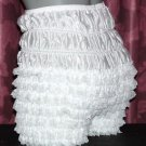 WHITE  RUFFLE FRILLY BLOOMER XXLARGE WAIST - 48 INCHES NYLON PETTIPANTS