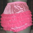 all nylon hot pink ruffle sissy lacy rhumba tennis panties  med -large xlge