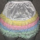 VINTAGE STYLE WHITE RAINBOW NYLON SISSY RUFFLE PANTIES MED  W-35 INCHES