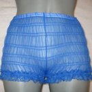 LOW RISE  VINTAGE  STYLE SHEER BLUE CHIFFON RUFFLE PANTIES lARGE