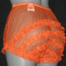 CD RETRO  STYLE SHEER ORANGE CAN CAN CHIFFON RUFFLE PANTIES LARGE