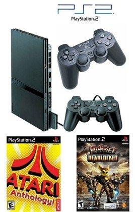 "Slim Sony Playstation 2 ""Value Bundle"" - 86 Games, 2 Controller"
