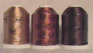 Robison-Anton Brown Rayon Machine Embroidery Thread Set (3 mini-king cones, 1000 meters)
