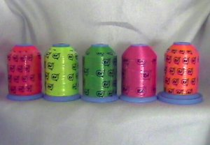 Robison-Anton Neon Polyester Machine Embroidery Thread Set (5 mini king cones, 1000 meters)