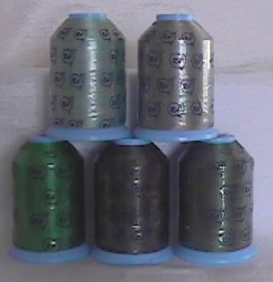 Robison-Anton Green Polyester Machine Embroidery Thread Set (5 mini king cones, 1000 meters)