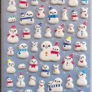 Kamio Glittery Snowmen Puffy Sticker Sheet