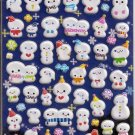 Kamio Snowmen with Faces Puffy Sticker Sheet