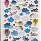 Q-Lia Gumi Seal Airplanes, Helicopters, and Clouds Sticker Sheet
