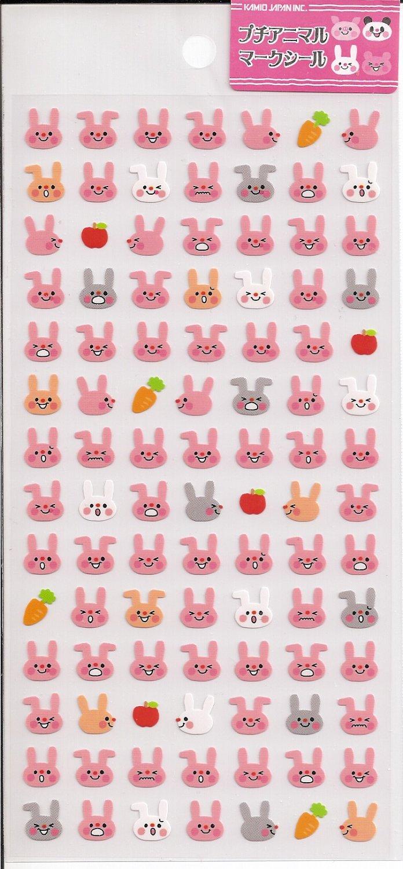 Kamio Petit Pink Bunnies Sticker Sheet