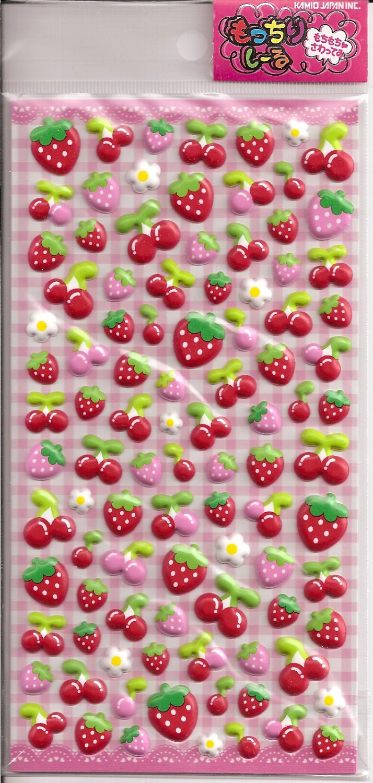 Kamio Strawberries and Cherries Puffy Sticker Sheet