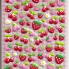 Kamio Strawberries and Cherries Puffy Sticker Sheet