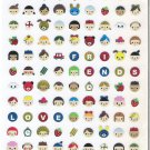 Mind Wave Happy Friends Mini Faces Sparkly Sticker Sheet