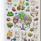 Crux Kawaii Spring Rabbits Daily Activities Sparkly Sticker Sheet