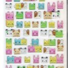 Kamio Square Kawaii Animals Candy Pop Glittery Hard Epoxy Sticker Sheet