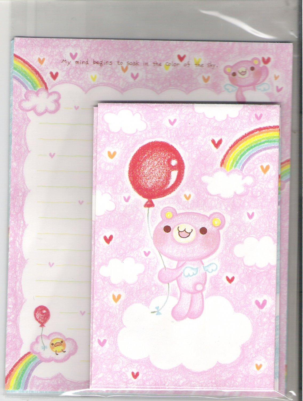 Crux (?) Kawaii Bear Rainbow and Pink Hearts Letter Set