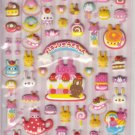 Kamio Bunny Desserts and Love Pink Puffy Sticker Sheet