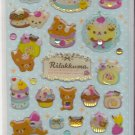 San-X Rilakkuma Bear Cupcakes, Sweets, and Macarons Blue with Rhinestones Sticker Sheet